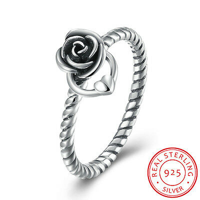 925 Sterling Silver Rose Flower Heart Wedding Engagement Rope Twist Band Ring