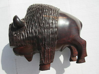 Beautifully Carved Mesquite or Ironwood Buffalo Probably Mexico Great Coloration