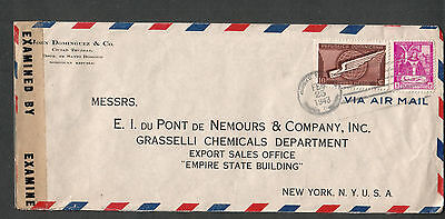 1943 WWII examined by 4462 Miami censor cover Dominican Republic to EI DuPont NY