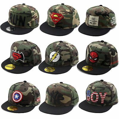 Embroidered Kids Camouflage Baseball Caps Hiphop Sports Snapbacks Boys Sun Hat