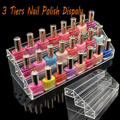 3 Tiers Acrylic Nail Polish Cosmetic Varnish Display Stand Rack Holder Organizer