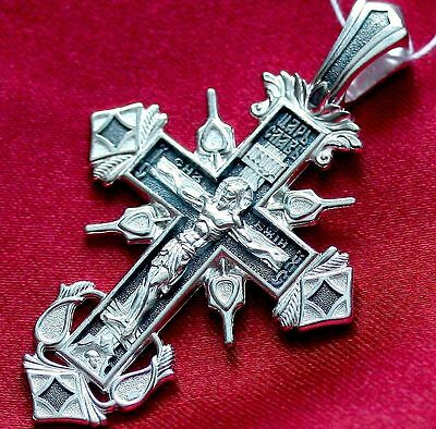 Big Russian Orthodox Body Cross Crucifix Silver 925 Save And Protect Prayer New