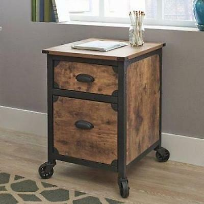 NEW Filing Cabinet 2 Drawer Rustic Wood Storage Industrial Home Office Furniture