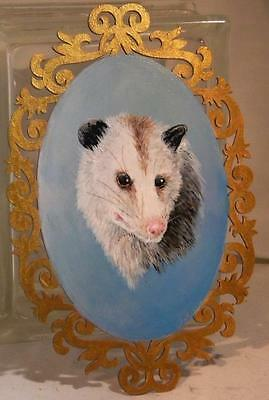 Ooak hand painted  Possum/Opossum wood plaque with 'gold' painted frame