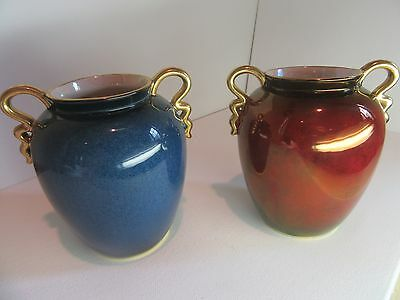 A pair of English Carlton Ware small urn Art Deco vases, c. 1930.