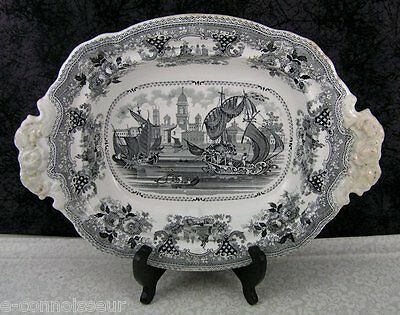 Antique Staffordshire Gondola Black Transferware Footed Vegetable Bowl