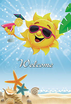 Decorative Sun Garden Flag Colorful Spring Summer Welcome Double Sided 12.5 X 18