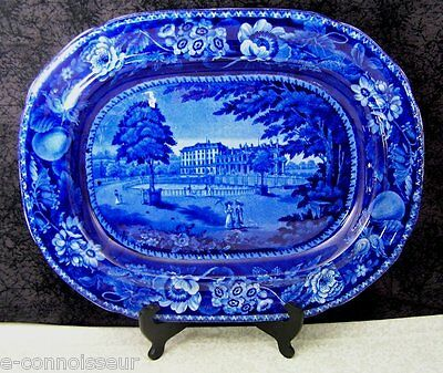 Antique Staffordshire Palace of St. Cloud, France Dark Blue Transferware Platter