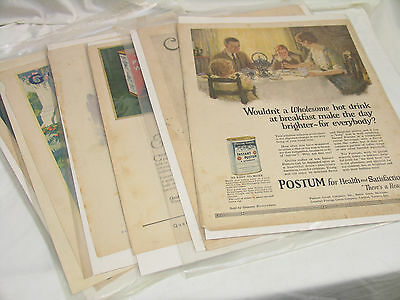 "Lot of Six 1920s Saturday Evening Post Vintage Advertisements 10"" x 12"""
