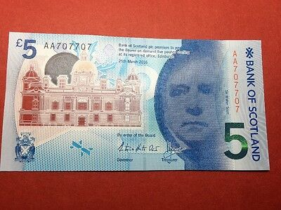 Bank Of Scotland 5 Pound Note  Polymer AA 707 707