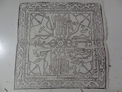 Old Mongolian Tibetan  Buddhist Woodblock Amulet  Print On Paper