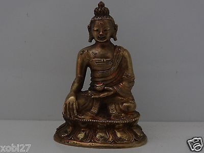 Antique Chinese Tibetan  Buddhist Cast Brass Statue Of Buddha Shakyamuni