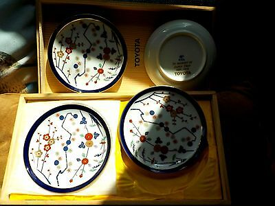 """Toyota Plate Set """"In Memory of Japan Trip Sep 1979"""" 5 Pc Boxed Marked"""