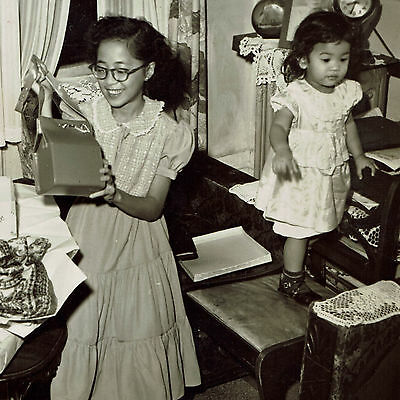 Antique Vintage 1940's 1950's Photo of Asian Ethnic Siblings Sisters Children