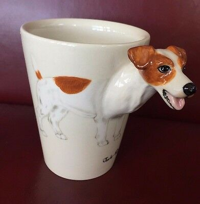 Blue Witch 3-D Jack Russell Terrier Dog Ceramic Hand Painted Coffee Mug Cup