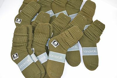 VINTAGE New Lot of 16 Pairs Cotton SLOUCH Baggy Socks Olive Green - 1980's
