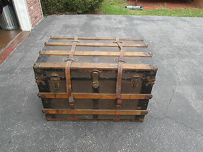 Antique Victorian Eagle Lock Company Steamer Trunk 1850 - 1900