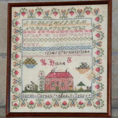 Early Victorian Sampler with Large House and Bunny