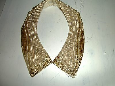 Vtg Tiny  Faux Ivory Pearls & Gold Beads Beaded Clothing Collar Jewelry Necklace