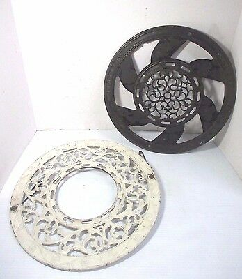 2 Antique Ideal Stover Mfg. Co.Cast Iron Heat Register Floor/Ceiling Vent Grates
