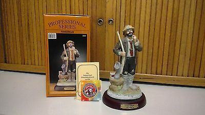 """Emmett Kelly Jr.Fisherman Professional Series 9"""". With Box and Wooden Stand"""