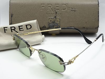 RARE VINTAGE FRED GOLD & SILVER LUNETTES ORCADE 207886 135 SUNGLASSES w/ CASE