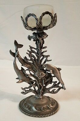"""PEWTER DOLPHIN CANDLE HOLDER 6 1/8"""" Tall"""