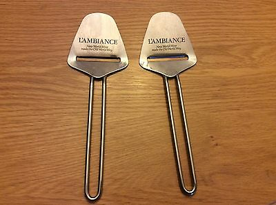 Lot Of 2 L'Ambiance Winery Stainless Steel Cheese Slicers Servers
