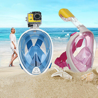Update Swimming Diving Full Face Snorkel Scuba Anti-Fog Mask Surface for GoPro