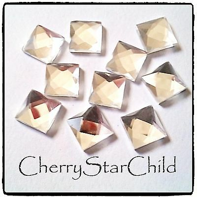 10 x faceted mirror backed glass gemstones 8mm for jewellery craft findings