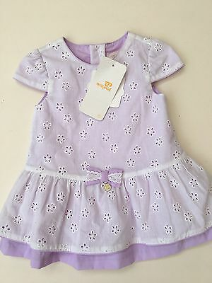 *MAYORAL CHIC* girls NEW Lilac white broderie  Dress (0-3 months) 4-6M A615