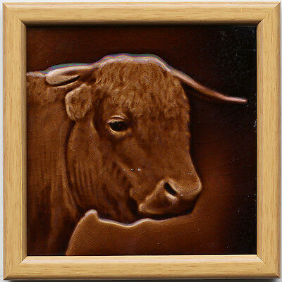 c.1890 Sherwin & Cotton cattle portrait tile designed by George Cartlidge