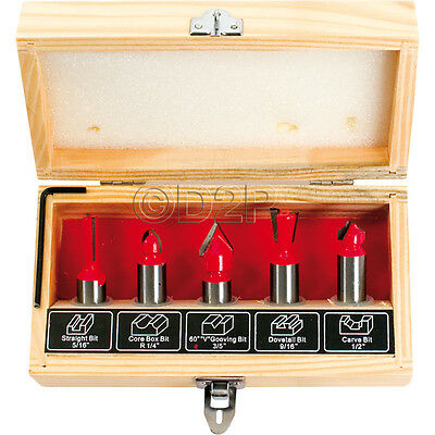 5Pcs Wood Working Router Bit Set For Electric Router Trimmer Power Tool