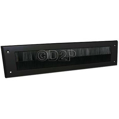 Door Letter Box Plate Seal Internal Bristle Brush Cover Draught Excluder Black