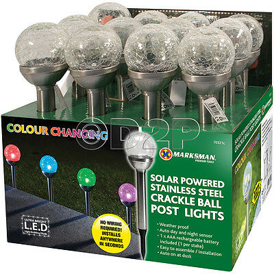 4 x CRACKLE BALL SOLAR POWERED LIGHT POST STAKE COLOUR CHANGING GLASS CRYSTAL