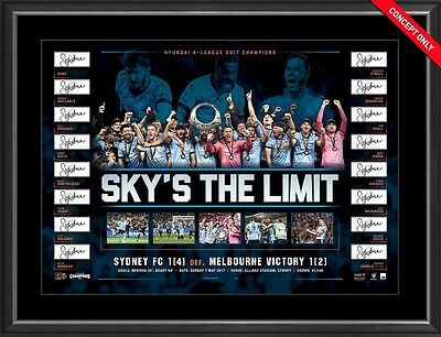 Sydney Fc 2017 A League Champions Soccer Limited Edition Lithograph Framed