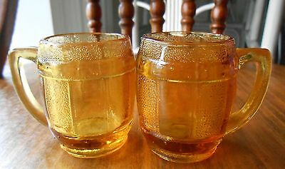 Vintage Amber Color Mini Root Beer Mug Toothpick Holder  Shot Glasses