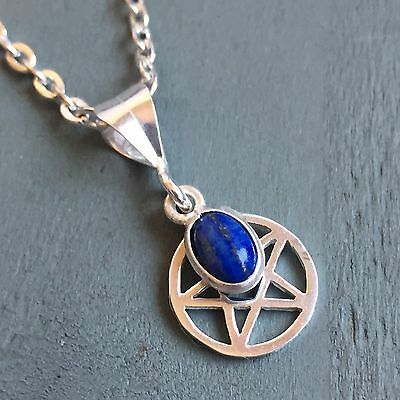 Dainty 925 Sterling Silver Pentagram & Lapis Lazuli Charm Pendant Pagan Wicca