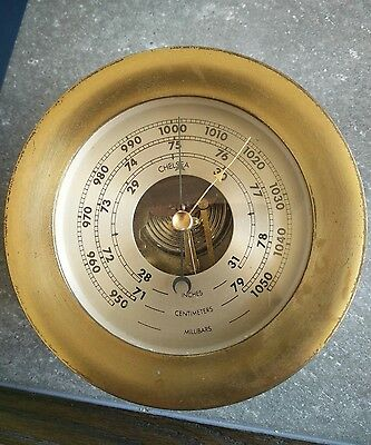 "Antique  Chelsea Brass Aneroid Ship's Barometer 5.5"" # 1754"