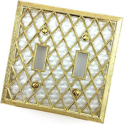 Light Switch Cover Plate Double Vtg Gold Metal Diamond Filigree Regency Lattice