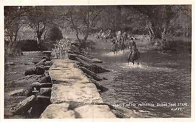 POSTCARD   SOCIAL  HISTORY   SOMERSET  TARR  STEPS  Hounds on  the Bridge    RP