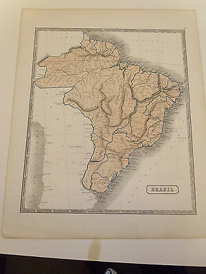 100% Original Large Brazil Map By W Mc Phun C1863 Vgc Free Uk Post