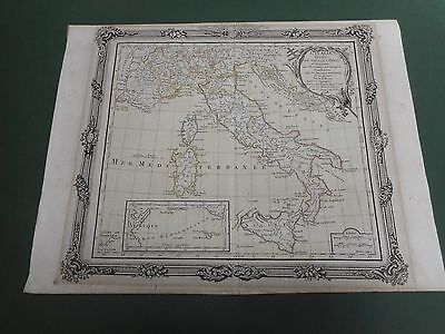 100% Original Italy  Map By M Brion  C1798 Hand Coloured