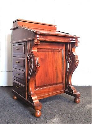 Antique style carved Davenport with drawers -  desk