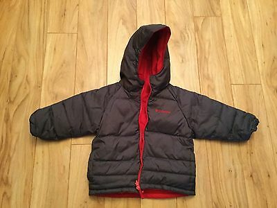 Columbia Boys Black Red Reversible Down Snow Jacket. Size 2T. EUC