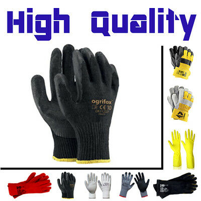 Builders Safety DIY Gardening Carpenters Working Rubber Coated Gloves - Ogrifox