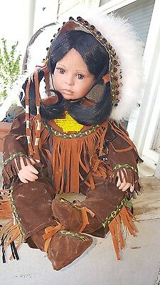 """Vintage Timeless Porcelain American Indian Girl Doll Limited Edition 12"""" Sitting"""
