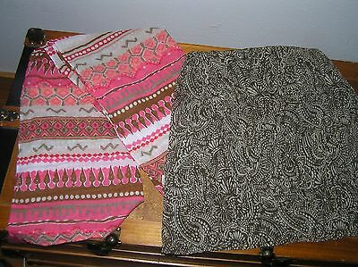 Lot of 2 Pink Tangerine Cream Abstract Cotton & Brown & Tan Flower Women's Scarf