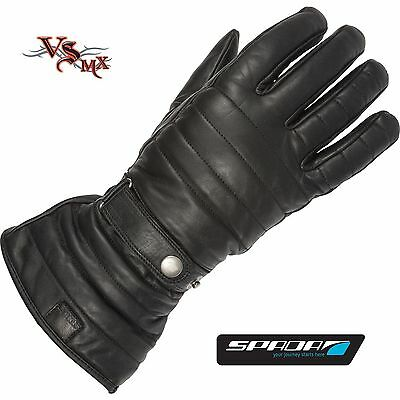 Spada Gauntlet Leather Motorcycle Motorbike Gloves Touring Waterproof Breathable