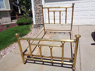 Antique Vintage Simmons Company Full Size Art Deco Gold Iron Bed frame
